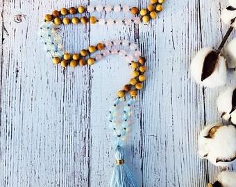 Rose Quartz Mala • Opalite Mala • Mala Necklace • 108 Mala • Knotted Mala • Meditation Mala • Tassel Necklace • Prayer Beads  • Yoga Jewelry