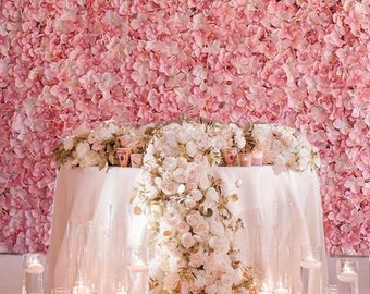 4 Pink Ivory Flower Wall Pink Panels Hydrangeas Artificial Flower Wall Wedding Decorations Fake Flower Greenery Flower Square Pink Wholesale
