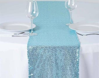 Serenity Blue Sequin Table Runner Wedding Table Easter Sale Boho Cloth Sparkly Wholesale Sequin Sea Nautical Wedding Glitter Light Blue