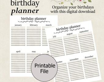Birthday Planner Printable, Birthday Planner, Birthday Tracker, Birthday Calendar, Instant Download