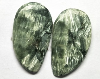 Natural Seraphinite Fancy Pair Cabochon, Seraphinite Stone, Jewelry Cabochon, Smooth Pair Cabochon, Loose Gemstone, AAA, 31x17 MM, 29 CTS