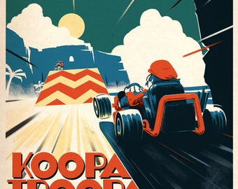 Mario Kart Koopa Troopa Beach Vintage Racing Travel Poster