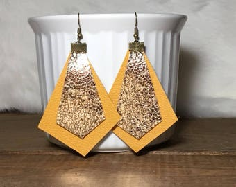 Mustard leather earrings with gold overlay