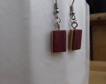 Earrings wood, wood, natural, laminated wax jewelry glued, recycling, 4 colors