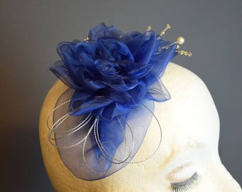 Fascinator blue color, handmade in Belgium, accessories, hut, hoed