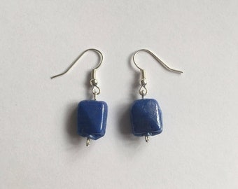Shimmery blue square earrings