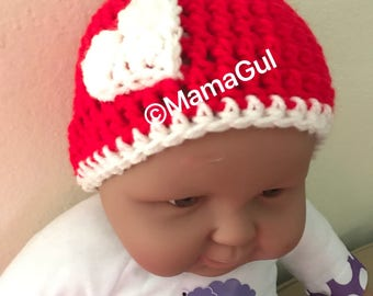 Red baby hat with heart for Valentine's Day