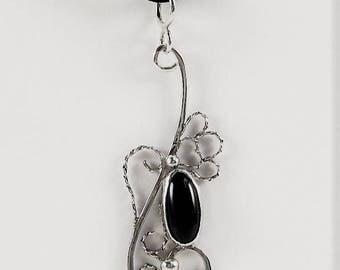 Sterling Silver & Black Onyx Filigree Pendant