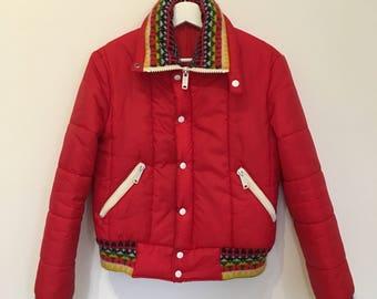 Vintage Red Ski Jacket with printed details