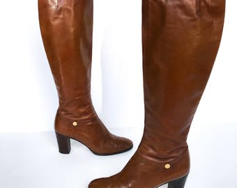 Salvatore Ferragamo  80s Tall Brown Riding Boots Heeled