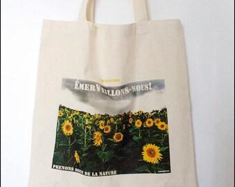 "Tote bag ""Marvel we"" sunflowers"