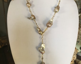 Cream and Smoke Baroque Pearl Lariat Necklace