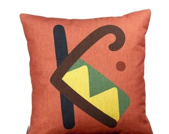 "K - letter, bright color pillow cover, 16x16"", cotton cushion art cover, light clay red background, Multi-Coloured, Child-safe printing."