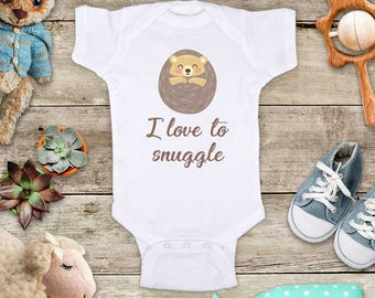 I love to snuggle baby hedgehog cute Baby bodysuit Toddler Youth Shirt - baby shower gift surprise
