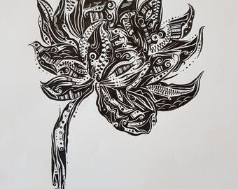 Flower - Nature - Artwork - Detailed / Intricate - Black and White - Art Print