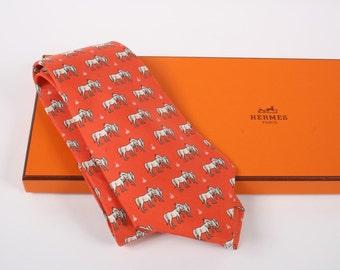 Authentic-HERMES Twill-Silk Tie-Arabian Horses Design 7480 IA with Hermes Box