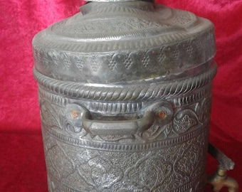Engraved Hand Made Ottoman Antique Copper Tea-Urn #SBTK1