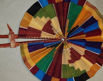 Glitter Kente Leather Fan