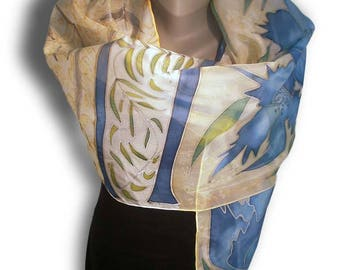 BLUE Dream Hand Painted Silk Scarf / Real garden of azure blue flowers with silver and green shades / Silk 100%, pongee type / Hand-hemmed