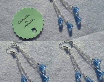 Teardrop earrings, blue earrings, original earrings, sophisticated earrings, fashionable earrings, stylish earrings