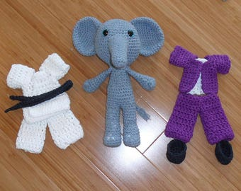 Crochet Stuffed Elephant With Two Removable Clothing Sets