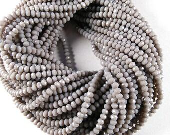 "3-3.5mm Gray Chalcedony, Gray Hydro Chalcedony, Gray Hydro Beads, Chalcedony, Faceted Chalcedony,  13"" Long Strand For Making Jewelry Beads"