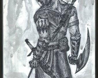 orignal handmade drawing From Assassin's Creed,ooak fan-art, assassins, Video Game  graphic art, wall art,Altair,warrior,print,