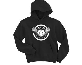DAN TDM graphic Black Hoodie dantdm, Kids Youth & Adults top sweater diamond