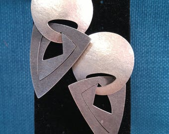 Rare Modern Sterling Earrings- Mary Kanda- Sculptural Jewelry- Artisan Jewelry- Geometric Earrings- Large Earrings- Silver Earrings- 925