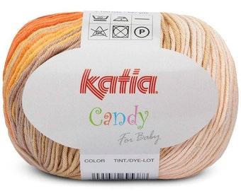 Multi Colored Yarn, Cotton Yarn, Baby Yarn, Katia Yarn, Variegated Cotton, Self Striping Yarn, Cotton Knitting Yarn, Knitting Yarn