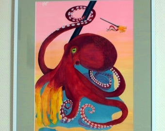 "Original Acrylic Painting on Paper ""Moptopus"", 11.7 by 16.5 inches"