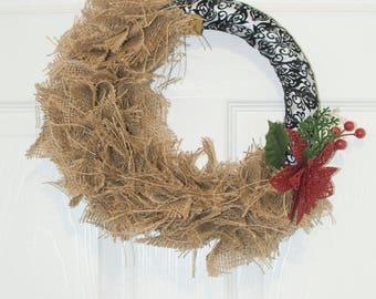 Holiday Burlap Wreath- Burlap wreath with ribbon- wreath for front door