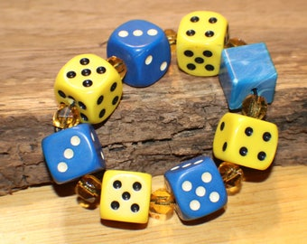 Artisan Dice Bracelet - Lucite Dice - Vintage Amber Glass Beads - Upcycled - Game Piece Collection