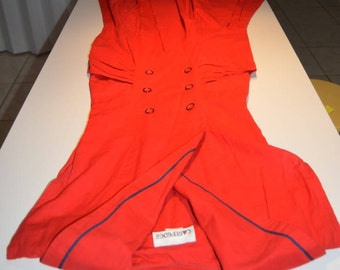 50s red and blue sailor style swing dress small