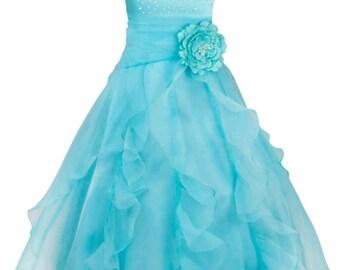 Flower Girl Dress Pageant Dresses Sleeveless Organza Floral Dresses Wedding Dresses Bridesmaid Dress