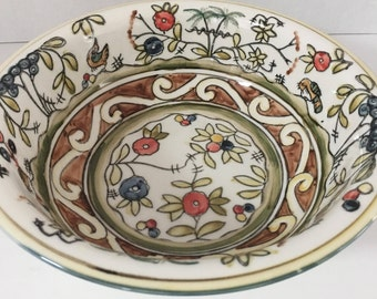 """Temp-Tations Mixing Bowl, Serving Bowl, Fruit Bowl, Oven to Table, Freezer, to Dishwasher Floral Bird Theme Vibrant Colors Size 9x9 by 3"""""""
