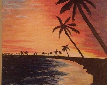 Photo into Painting / Custom Landscape Painting / Sunset / Ocean Painting / Acrylic on Canvas / Turn photo into painting
