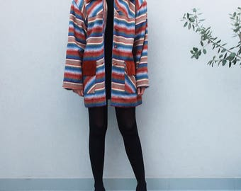 Striped Duffle Coat