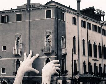 Support Sculpture Venice Printable   Venice Sculpture Printable Photo   Black & White Venice image   Lorenzo Quinn sculpture photograph