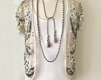 VINTAGE Sequin Bolero Jacket /  Vintage Cream Mesh Silver and Pearl Beaded Sequin Jacket / Bohemian Festival Coachella Bolero