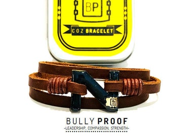 Men's Custom Fit leather bracelet.  Made with Care. Worn for a Cause. Order extra color clasps from Cozware