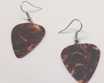 Brown Guitar Pick Earrings