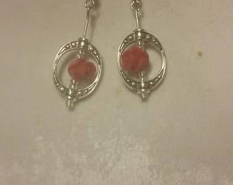 enchanted red rose earrings