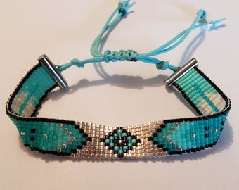 miyuki turquoise silver bracelet
