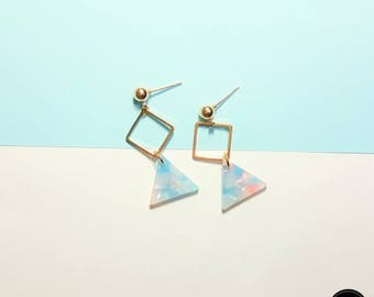 Square Ring Triangle Blue Earring, Simple Daily Cute Luxury Lovely Mini Handmade Silver Earring Jewelry Set Birthday Anniversary Bridal Gift