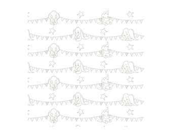 "Dumbo-Bunting Banners-Zinc-Gray-Disney- 43/44"" 100% Cotton- Fabric by the yard-Camelot Design Studio"