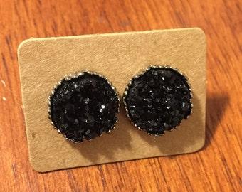 Black Druzy Crown Earrings