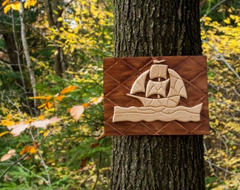 Wooden Picture - Ship Intarsia