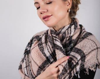 Boho Scarf for Women, Gift For Her, Soft Light Pink, Oversized Large Winter Scarves