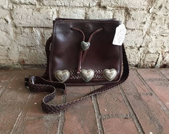 Brighton brown leather purse shoulder bag with braided strap and silver concho hearts